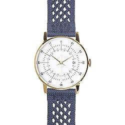 "squarestreet ""Plano"" Edelstahl IP Poliert Gold Swiss Quarz Weib Datum Blau Navy Nylon Stoff Unisex Uhr"