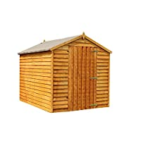 WALTONS EST. 1878 8x6 Wooden Garden Storage Shed, Overlap Construction Dip Treated with 10 Year Guarantee, Windowless, Single Door, Apex Roof, Roof Felt & Floor Included, (8 x 6 / 8Ft x 6Ft)