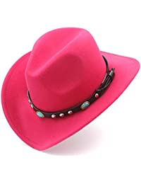 GBY Cappello da Cowboy Western da Donna con Cappelli Roll-up in Feltro di  Sombrero Cowgirl (Colore   Rosa… 13df36dcf33d