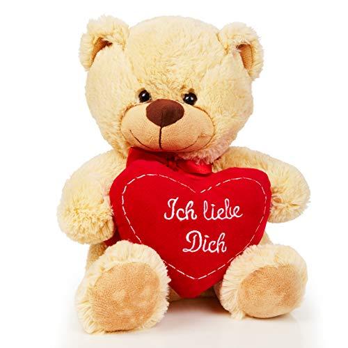 Lumaland Teddybär beige 30cm Plüsch Kuschelbär Ich liebe Dich Herz