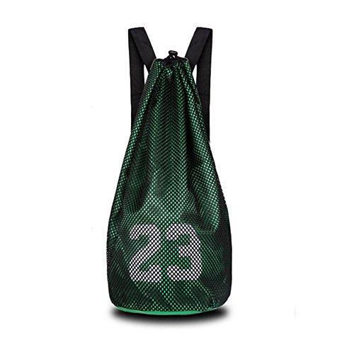 Lazy Puppy Basketball Bag Fitness Training Net Tasche Fußball Tasche Kordelzug Rucksack, grün