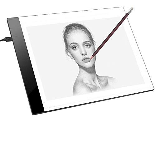 JZK Einseitig A4 LED Zeichnen Leuchttisch Leuchtplatte Leuchtkästen Copy Board Light Pad mit USB Kabel, Zum Handwerk Animations Skizze Tattoo Maler Doktor Illustrator Studenten