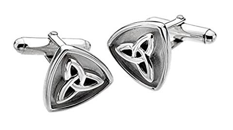 Heritage Sterling Silver and Oxidised Celtic Trilogy Knot Cufflinks
