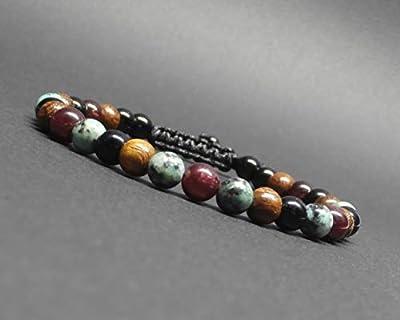 Bracelet homme, pierres gemmes, turquoise africaine, grenat, onyx, perles de bois robles Ø 6 mm