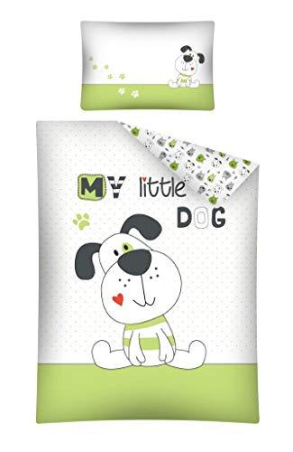 Kinderbettwäsche Bettwäsche 100x135 + 40x60 Hund Dog Babybettwäsche Grün