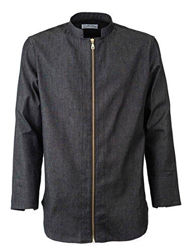 Camicia regular fit casual lunga nera di jeans con zip in oro, collo coreano, maniche lunghe (xxxl)
