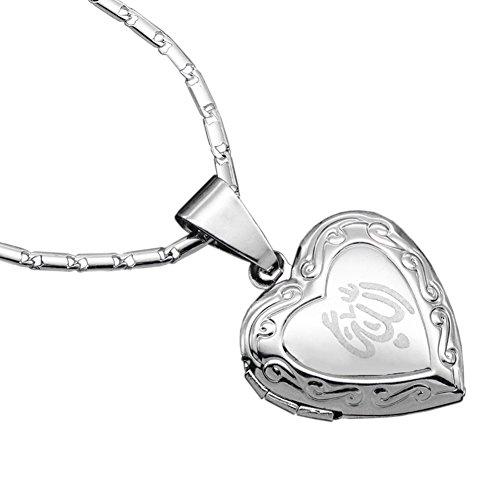 Dunbasi Islam Muslim Allah Kette Herz Anhänger Foto Medaillon Zum öffnen für Bilder Islamische Muslimische Koran Halskette für Damen/Mädchen (Silber)