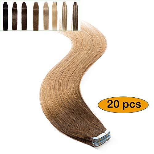 Elailite extension capelli veri biadesivo shatush #4t27 cioccolato ombre biondo scuro - 100% remy human hair 20 fasce biadesive 45cm adesive extensions naturali 50g tape riutilizzabile larga 4cm