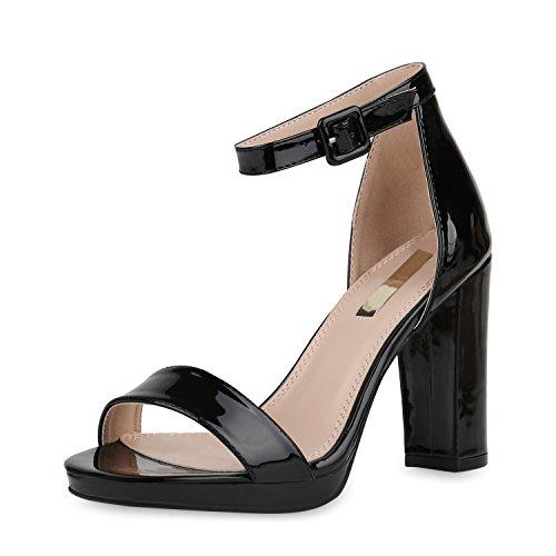 SCARPE VITA Damen Sandaletten High Heels Party Schuhe Absatzschuhe Lack 156485 Schwarz 39