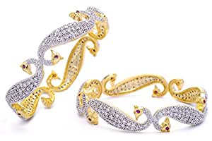 M Creation Peacock Gold copper Bangle Set for Women