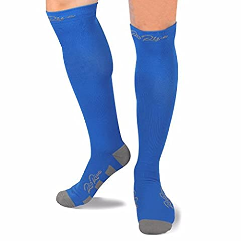 Compression Socks for Women & Men by RioRiva - Athletic Pattern Fits for Running, Athletic Sports, Crossfit, Flight Travel - Suits Nurses, Maternity Pregnancy- Knee High (Blue Sport,