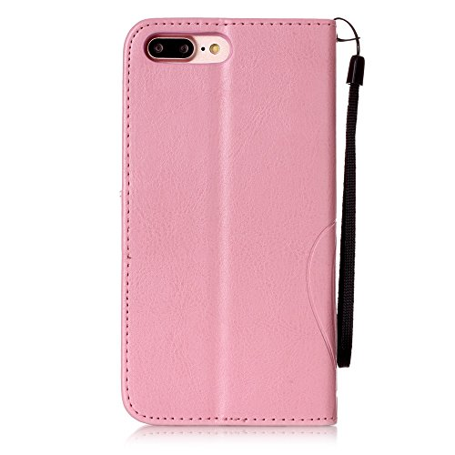 iPhone 7 Plus Hülle, iPhone 7 Plus Neo Hülle Case, iPhone 7 Plus Leder Brieftasche Hülle Case,Cozy Hut iPhone 7 Plus Leder Hülle iPhone 7 Plus Ledertasche Brieftasche Schutz Handytasche mit Standfunkt rosa
