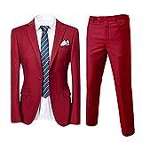 Slim Fit 2-Teilig Herren Anzug für Hochzeit Party Weinrot XXX-Large