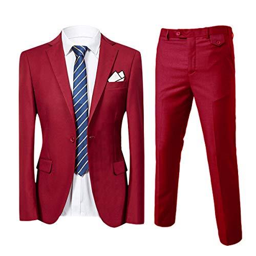 Costume homme de couleur unie un boutons d'affaire mariage slim fit deux pièces - Vin rouge - Medium
