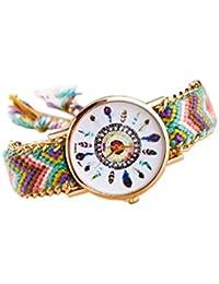 Reloj de pulsera - SODIAL(R)Reloj de pulsera de cadena trenzada de oro para mujeres de color No.6