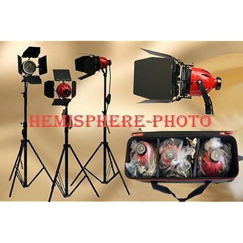 3x bolsas de red head (800W, 4,8m, incluye soportes pelirroja + 6DXX Lámparas Bombillas