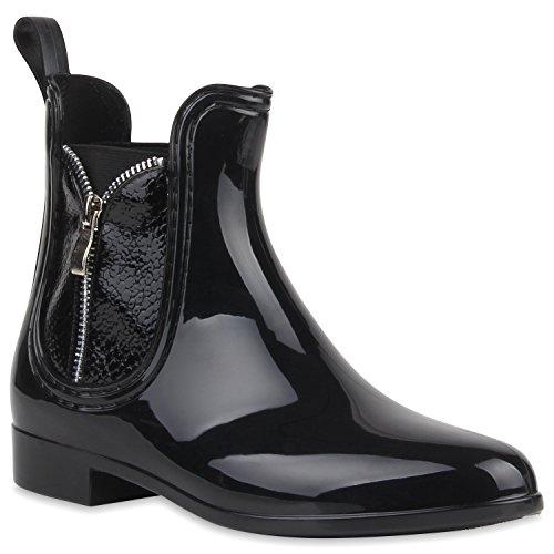 Bequeme Stiefeletten Damen Chelsea Boots Gummistiefel Lack Schuhe 105352 Schwarz Zipper 37 | (Kostüm Anzug Schwarzen Frauen)
