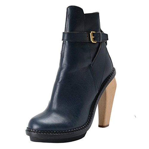 cacharel-womens-runway-blue-leather-platform-ankle-boots-shoes-us-10-it-40