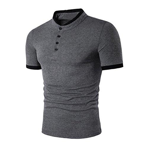 2018 Neue Revers T-Shirt Herren, DoraMe Männer Mode Sommer Casual Schlank Kurzarm Poloshirt Slim Fit Persönlichkeit Hemd Knöpfe Patchwork Bluse V-Hals Lässig Top (C - Dunkelgrau, Asien Größe L)