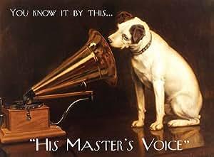 HMV His Master's Voice Nostalgic Vintage Retro Advertising Enamel Metal Tin Sign Wall Plaque 200mm x 150mm
