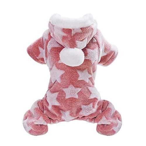 XWBO Hundepullover Fleece Sterne Muster Hunde Pyjamas Hoodie Kostüm Kleidung Winter Hundebekleidung Warm Sweatshirt fürkleine Hunde Haustier ()