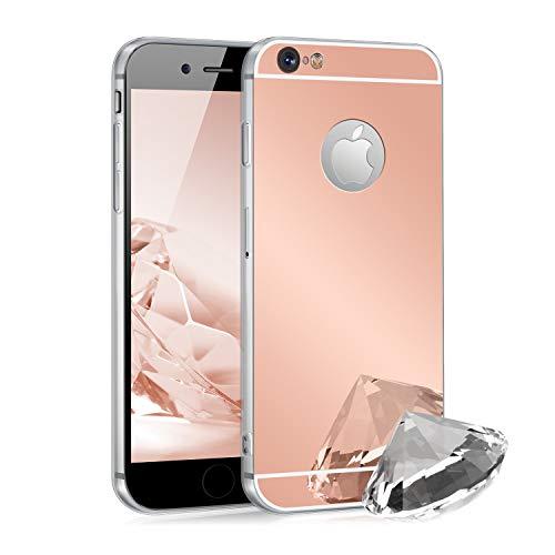 Zhinkarts Handyhülle kompatibel mit Apple iPhone 6 / 6S Rosa Silikon Case Backcover Schutzhülle in Rosegold Spiegel/spiegelnd Spiegel Iphone