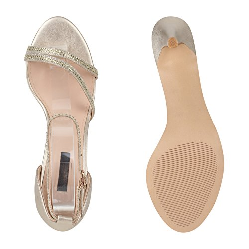 Damen Riemchensandaletten | Glitzer Sandaletten Metallic | Stilettos High Heels | Sommer Party Schuhe | Abiball Hochzeit Brautschuhe Gold Metallic