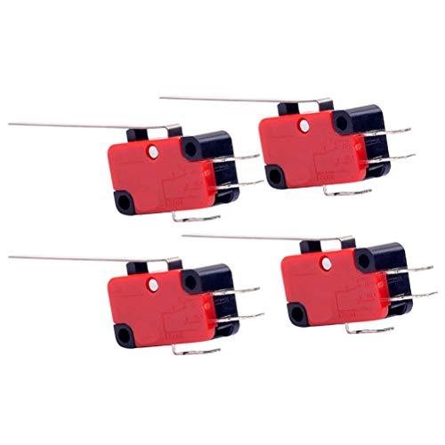 Hemobllo 4 STÜCKE Endschalter wasserdicht momentaner Drucktastenschalter 2-polig lange - Endschalter Mikroschalter