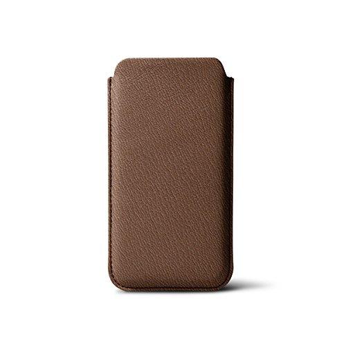 Lucrin - Etui iPhone 5/5S/SE avec tirette - Rose Saumon - Cuir de Chèvre Tabac