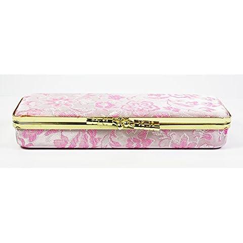 3tonalità rosa pallido floreale seta ricamo decorazioni, piccolo gioielleria & Anello Scatola Portagioie