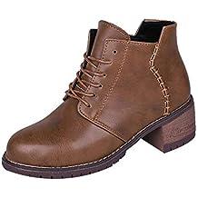 LuckyGirls Botines de Tacón Cuadrado Las Mujeres Coser Patchwork Botas Zapatillas Zapatos con Cordones