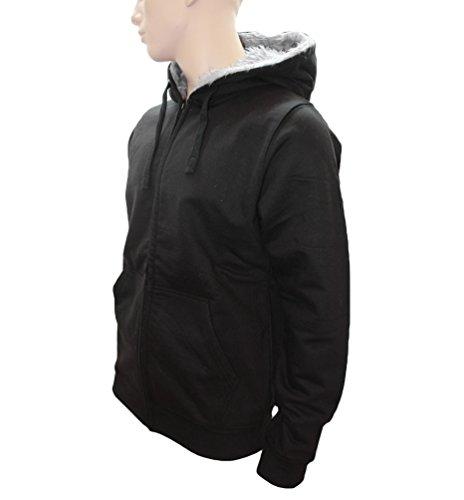 ROCK-IT giacca signori invernale di sudore felpa con cappuccio Workerhoodie con cappuccio foderato nelle taglie XS-5XL - Nero Nero