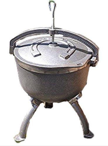 123home24.com Gusseisenkessel mit Deckel und Füßen - Gulaschkessel Kessel AUS GUSSEISEN - KOCHKESSEL- OFFENE FEUERSTELLE - 7,5 Liter - Massive Halterung - Gewicht 11 kg - Offene Feuerstelle