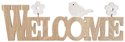 HEITMANN DECO Bois Inscription Welcome, Naturel/Blanc 39,5 x 2 x 13,1 cm