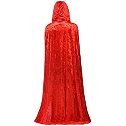 Capa de terciopelo para Halloween, Navidad o para disfraz de fiesta, 170cm, color rojo/azul/negro, Rojo, talla única
