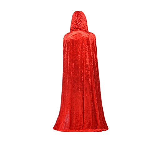 Halloween Velvet Cloak Christmas Hooded Cape Party Costume Fancy Dress 170CM Red/Blue/Black (Red)