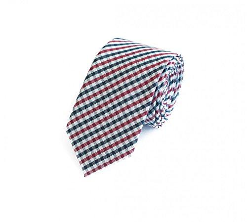 Fabio Farini klassische 6 cm Krawatte, für jeden Anlass mit klein kariertem Muster in rot, grau und schwarz