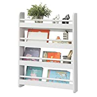 SoBuy® KMB08-K-W, Wall Mounted 4 Tiers Children Kids Bookcase Book Shelf Storage Display Shelving Rack, 60x12x80cm