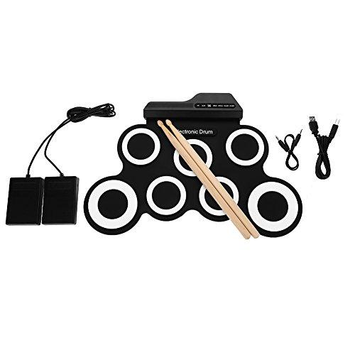 Tambor electrónico, batería plegable de 7 almohadillas para niños, música para principiantes