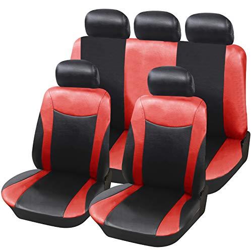 E-starain Schonbezüge Auto Sitzbezüge Set Sitzschoner Autositz, aus Kunstleder für PKW,Schwarz+Rot -