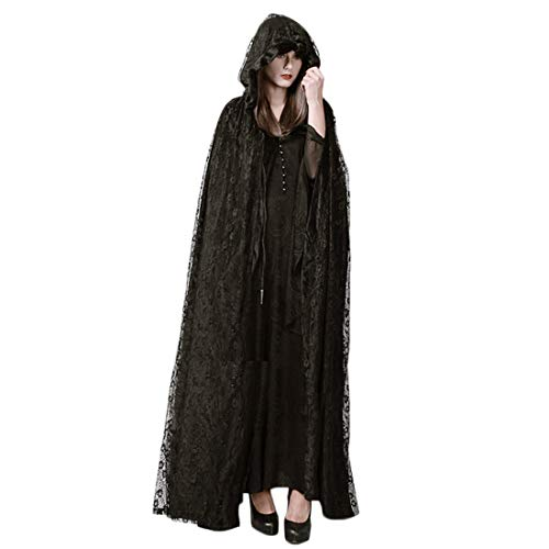 FLYA Halloween Kostüm Cosplay Party Requisiten Spitze Mantel Schwarzer Mantel Weiblich,Black-OneSize