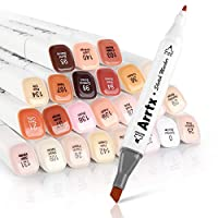 Arrtx Skin Tone Marker Pens 24 Colors Dual Tip Twin Markers Set, Artist Permanent Sketch Manga Marker Pens for Portrait Illustration Drawing Coloring - Alcohol Based Art Markers