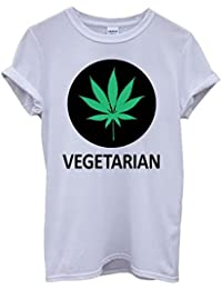 Vegetarian Cannabis Weed Marijuana Funny Hipster Swag White Femme Homme Men Women Unisex Top T-Shirt