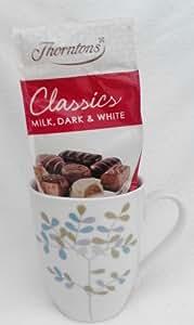 Beautiful Fine Porcelain Song Bird Design Cup / Mug With Thornton's Classics Milk , Dark & White Chocolates - Cellophane & Ribbon Gift Wrapped