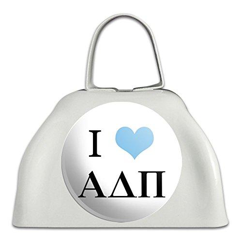 Alpha Delta PI Sorority I Love Griechische Buchstaben Offizielles Lizenzprodukt weiß Metall Cowbell Kuhglocke Instrument