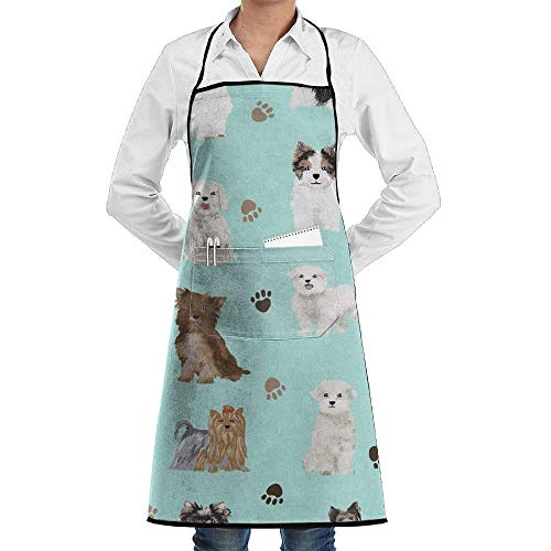 daawqee Yorkie Maltese Biewer Terriers Dogs for Kitchen Cooking Chef BBQ Adjustable Personalized Women Men Chef