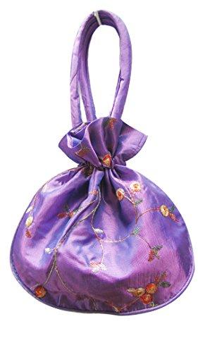 Cordon de Satin soyeux Mini sac à main de soirée avec le sac Motif Floral brodé Violet