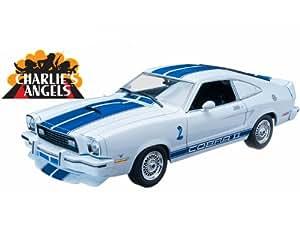 Ford Mustang II Cobra II, weiss/blau, ''Charlie's Angels'' , 1976, Modellauto, Fertigmodell, Greenlight 1:18