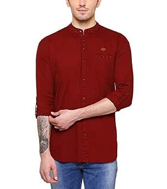 Kuons Avenue Men's Linen Cotton Belgian Print Mandarin Chinese Collar Long Sleeve Fusion Party Shirt (Colour Options Inside)
