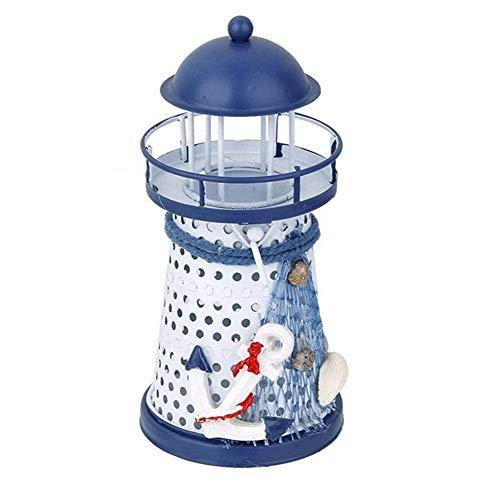 erzenhalter blau und weiß nautischen Stil Leuchtturm mit Einem weißen flammenlosen Teelicht zufällige Farbe 1pc ()